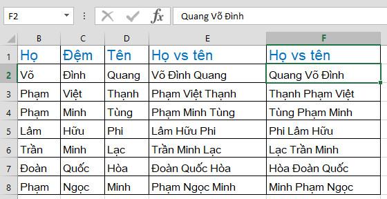 Cách dùng Flash Fill trong Excel
