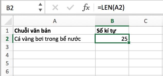 Cách đếm ký tự trong ô Excel bằng hàm LEN