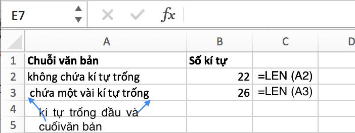 Hướng dẫn đếm số ký tự không bao gồm ký tự trống trong excel