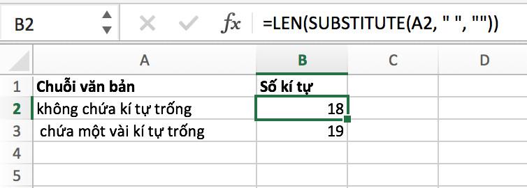 Cách đếm ký tự trong một ô không bao gồm các ký tự trống