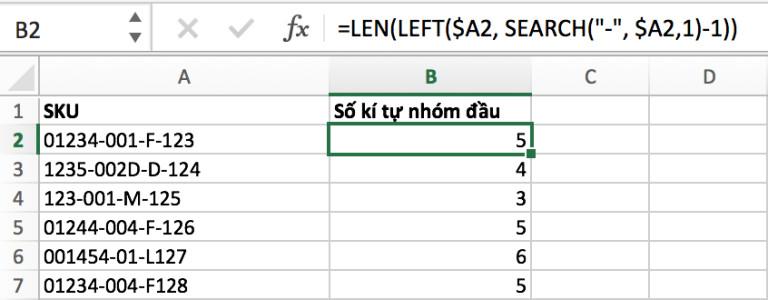 Hướng dẫn đếm kí tự trong ô bằng hàm LEN 7
