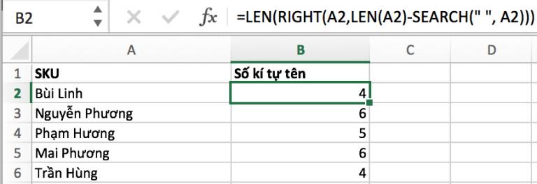 Hướng dẫn đếm kí tự trong ô bằng hàm LEN 10