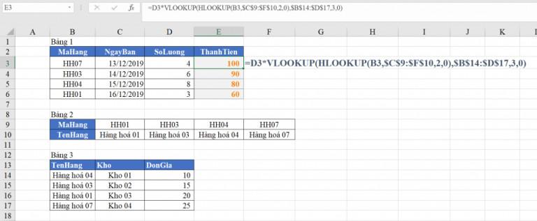 List Hướng dẫn sử dụng hàm VLOOKUP lồng HLOOKUP trong Excel