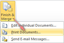 Click Print Documents to finish the merge and print the letters.