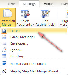 Choose what kind of mail merge you want to run.
