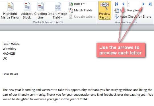 use the left and right arrows to view each letter with the recipient's data.