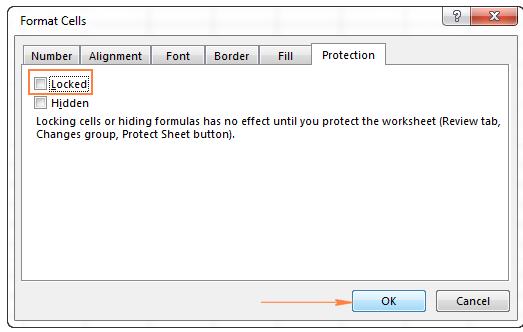 vị trí chọn khóa ô trong format cells