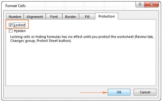 đánh dấu chọn khóa ô trong format cells