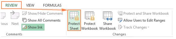 vị trí chức năng protect sheet trong thẻ review