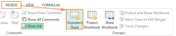 vị trí chức năng unprotect sheet trong thẻ review