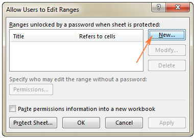 vị trí nút lệnh new trong thẻ allow users to edit ranges