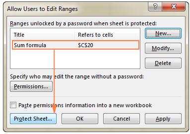 vị trí nút protect sheet để thực hiện khóa vùng ô