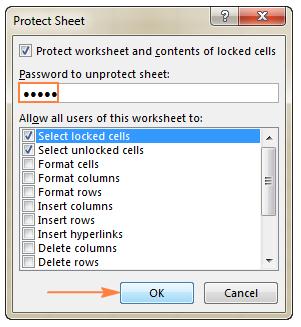 thiết lập mật khẩu khi khóa sheet protect sheet