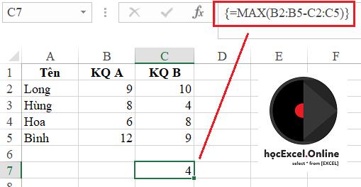 công thức mảng trong excel có dấu { }