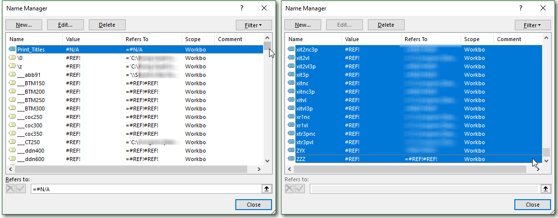 chọn và xóa các Name lỗi trong cửa sổ quản lý Name