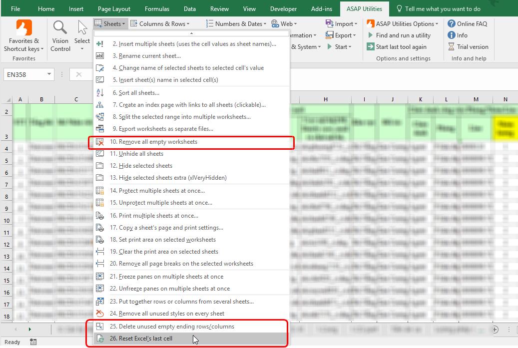 xóa các sheet không cần thiết với add-in ASAP