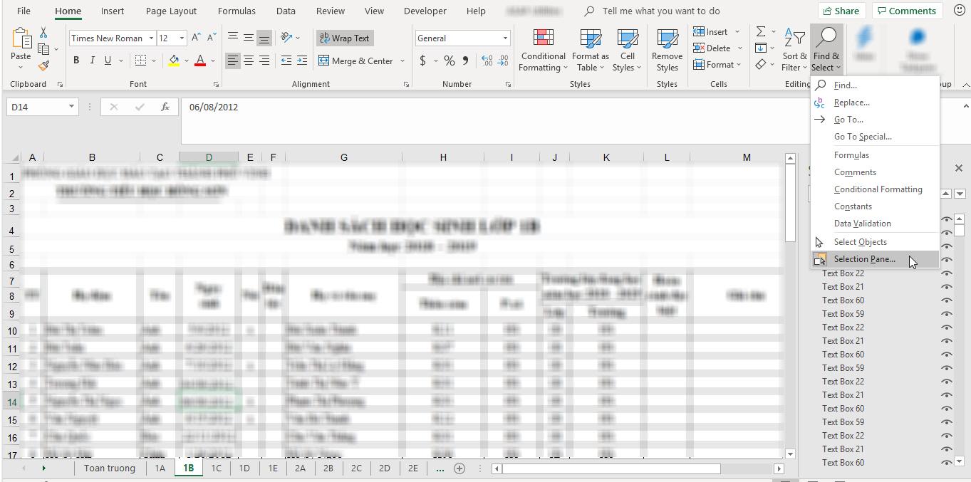 vị trí chức năng find & select trên thanh công cụ